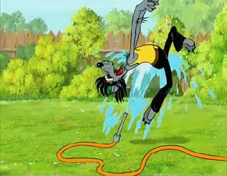 Анимация Волка поднимает струя воды, мультик Ну. погоди!