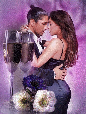 Анимация Парень обнимает девушку, стоят большие фужеры с шампанским, лежат цветы