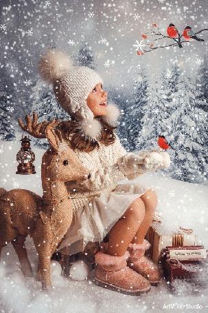 Анимация Девочка с игрушечным олененком сидит под падающим снегом