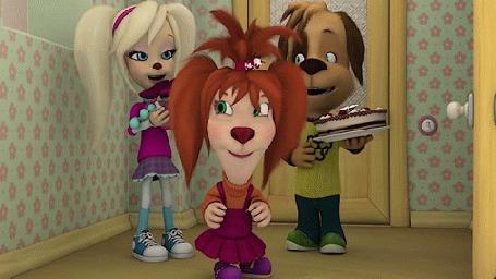 Анимация Персонажи Дружок, Роза и Лиза, забирающая торт из мультсериала Барбоскины