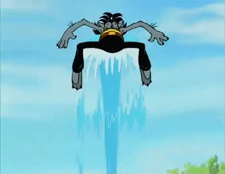 Анимация Волк кружится над струей воды, мультик Ну, погоди!