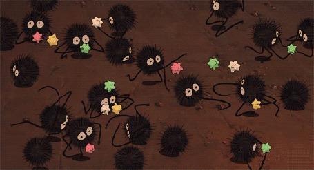 Анимация Бегающие маленькие разноцветные паучки
