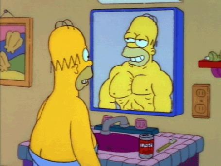 Анимация Гомер Симпсон, играющий грудными мышцами, мультсериал Симпсоны