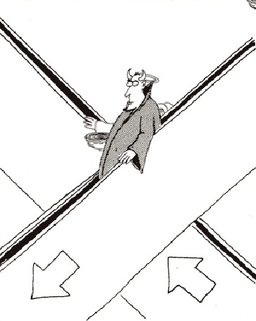 Анимация Черти и ангелы едут на эскалаторе