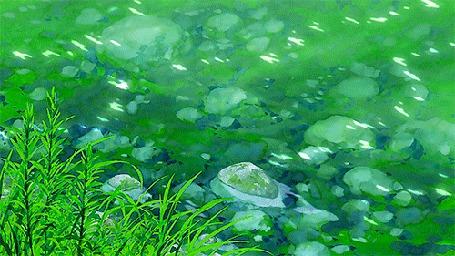Анимация Переливающаяся вода в реке, аниме Kanojo to Kanojo no Neko / Она и ее кот