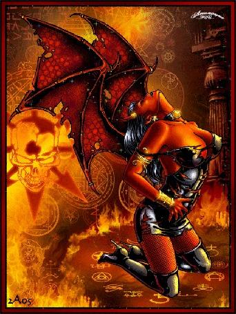 Анимация Девушка дьяволица стоит на коленях