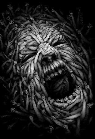 Анимация Лицо ада из человеческих рук
