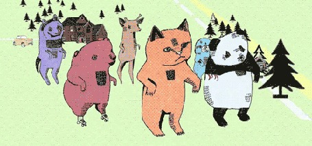 Анимация Танцующие животные в лесу