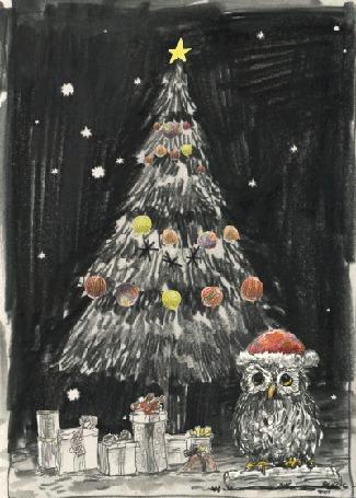 Анимация Подарки под елкой и сова в шапке Санты