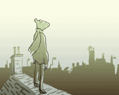 Анимация Лис в шарфе стоит на крыше