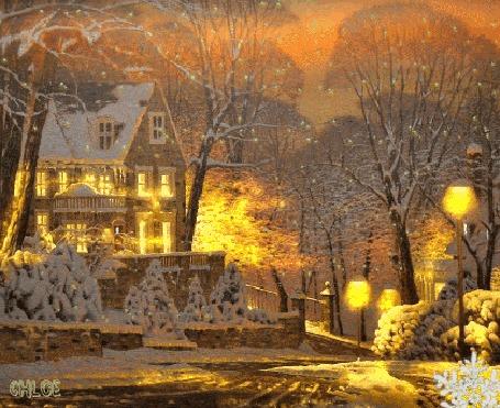 Анимация Вечерний зимний пейзаж в желтом свете фонарей, автор Chloe