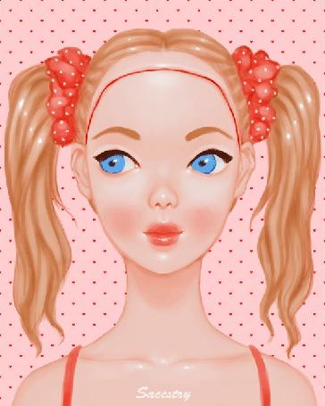 Анимация Девушка с двумя хвостиками, работа Saccstry