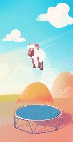 Анимация Прыгающий на батуте барашек
