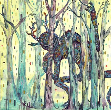 Анимация Психоделический монстр в лесу