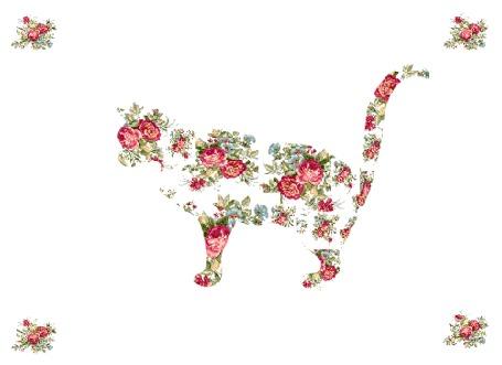 Анимация Фантазийный котик из цветов