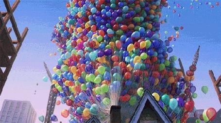 Анимация Воздушные шарики поднимаются в небо