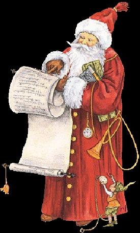 Анимация Дед Мороз читает свиток с поздравлением