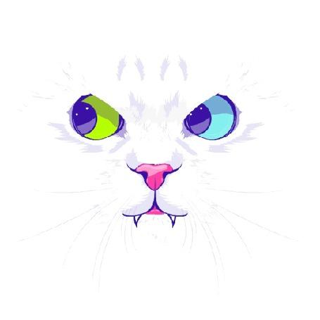 Анимация Белая кошка, со смешно двигающими глазами