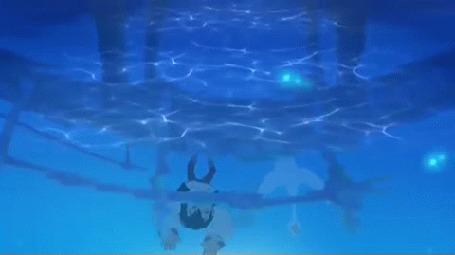 Анимация Якоб - карлик и лебедь стоят на мосту, мультик Карлик Нос