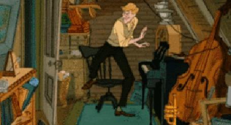 Анимация Мужчина играет на клавесине, мультфильм 101 dalmatians / 101 далматинец