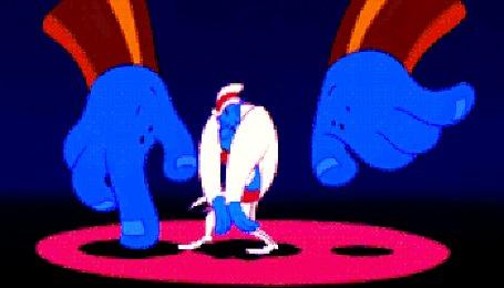 Анимация Мужчина в цилиндре танцует с двумя большими руками из мультфильма Fantasia / Фантазия студии Walt Disney / Волта Диснея