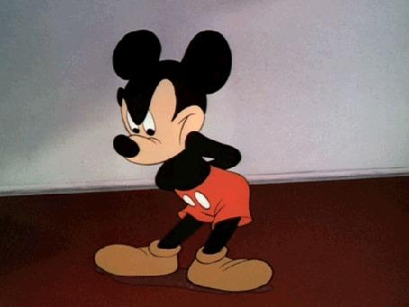 Анимация Мышонок сильно нервничает, мультфильм Mickey Mouse / Мышонок Микки, создатель Walt Disney / Уолт Дисней