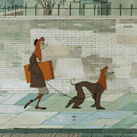 Анимация Схожесть между хозяйкой и ее собакой, идущими по тротуару