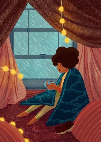Анимация Девушка с чашкой горячего чая сидит у окна, за которым идет дождь