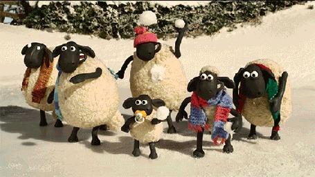 Анимация Барашки бросают снежки