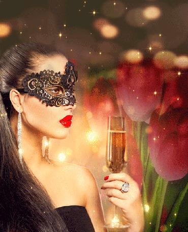 Анимация Девушка в маске с бокалом шампанского на фоне вращающихся цветов