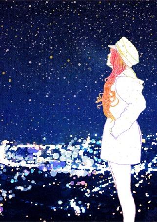 Анимация Девушка на фоне морозного снежного неба