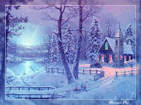Анимация Под снегопадом дети с санками и собакой идут к дому в деревьях