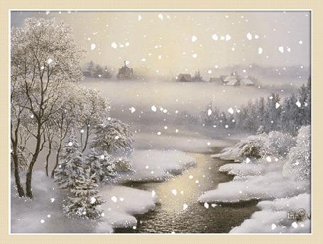 Анимация Снег идет над рекой. Деревня и церковь в далеке