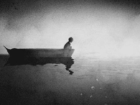 Анимация Мальчик сидит на краю лодки и смотрит на воду