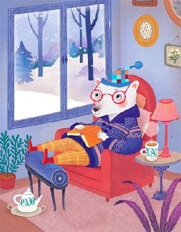 Анимация Медведь в шапке и очках, сидит на стуле, положив книгу на живот и смотря на падающий за окном снег, рядом стоит кружка с чаем