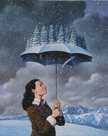 Анимация Девушка с зонтом, на котором растут елки