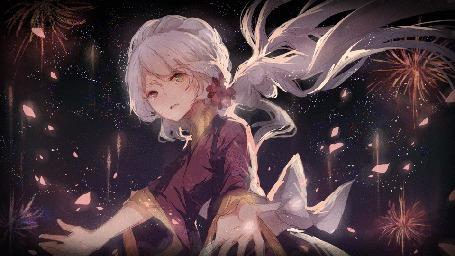Анимация Девушка с длинными волосами на фоне фейерверков, автор Kane (kanekiru)