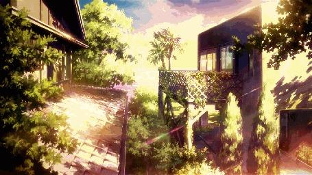 Анимация Прыгающая девушка с крыши на балкон, by gifinterest