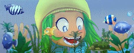 Анимация Девочка с восторгом смотрит на плавающих в аквариуме рыбок