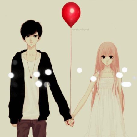 Анимация Парень держит в руках красный надувной шар, рядом появляющаяся и исчезающая девушка