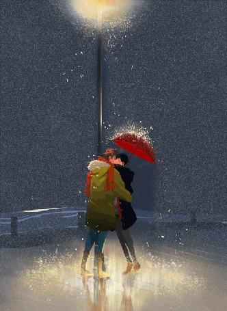 Анимация Парень с девушкой стоят с зонтом у светящегося фонаря
