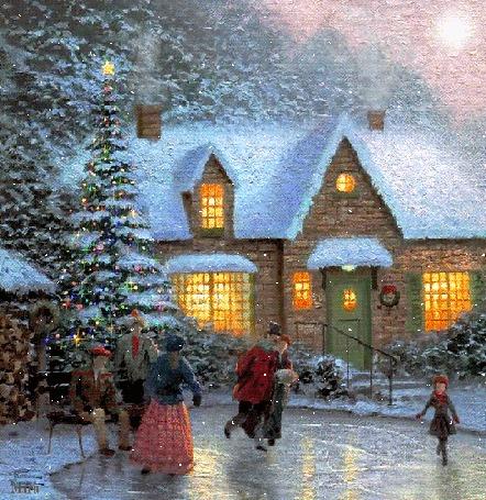Анимация Анимация картины художника Thomas Kinkade / Томас Кинкейд КАТОК НА ПРУДУ / SKATERS POND, в рождественскую ночь девочка со своими родителями катается на коньках возле дома по замерзшему пруду, их соседи с интересом наблюдают за зрелищем