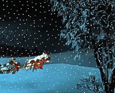 Анимация Кот Матроскин и пес Шарик, коровы тащят по снегу автомобиль родителей Дяди Федора, мультик Простоквашино