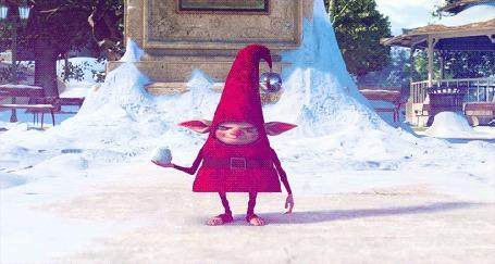 Анимация Чудик в розовом бросается снежком, мультфильм Rise of the Guardians / Хранители снов