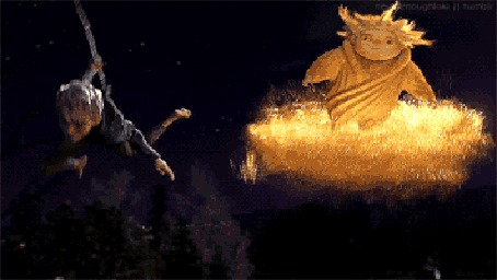 Анимация Ледяной Джек летит рядом с Песочным Человеком из мультфильма Rise Of The Guardians / Хранители снов