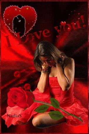 Анимация Грустная девушка с красной розой, (I love you / Я люблю тебя)
