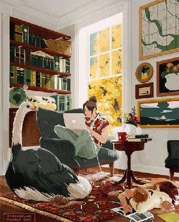 Анимация Девушка с ноутбуком сидит в кресле в комнате с птицей