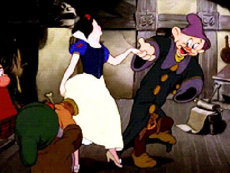 Анимация Белоснежка танцует с гномами, мультфильм Белоснежка и Семь Гномов, студия Disney / Дисней