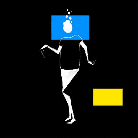Анимация Танцующая девушка на черном фоне
