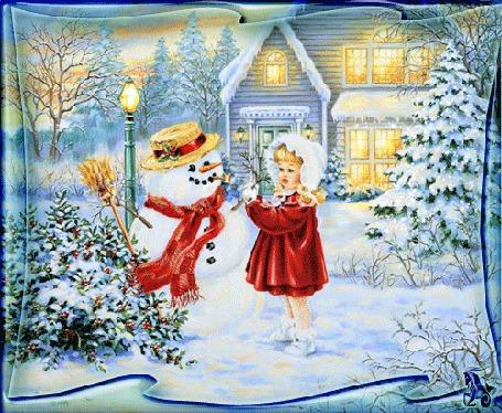 Анимация Девочка в красном пальто и белой шапке стоит на снегу у снеговика на фоне дома и заснеженных деревьев